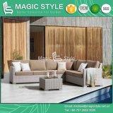 Piscina Wicker sofá com almofada de tecido Sunproof Tecelagem de vime Sofá Individual Jardim Wicker sofá de canto Defina As medulas Sofá Definido