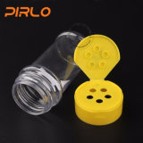 bottiglia di plastica trasparente della spezia di 66ml 100ml con bottiglia dell'agitatore della polvere della spezia del commercio all'ingrosso della protezione della parte superiore di vibrazione la varia