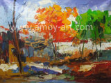 Knife著ハンドメイドの重い組織上の抽象的な景色のキャンバスの油絵