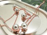 真珠デザインのローズの純金のめっき文の長いネックレス