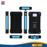 Nova chegada à prova de água portátil RoHS 10000mAh duas portas USB Celular Carregador Solar Banco de Potência