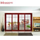 La madera de estilo americano Clolor puerta deslizante con vidrios de seguridad