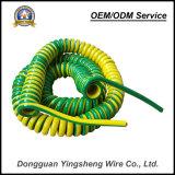 Prezzo all'ingrosso della nota di verde TPU della molla del cavo del cavo giallo di spirale