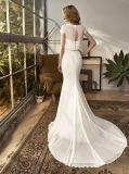 Vestido de casamento Chiffon da praia da sereia curta do cetim da luva