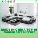 現代様式の居間の家具の木の革ソファー