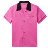 Os Mens novos do projeto Giram-Para baixo camisas curtas do bowling do algodão das luvas do colar