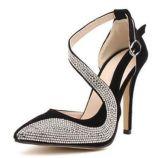 Commerce de gros a fait peu profonde de la bouche en forme de S Diamond Stiletto boucle sandales creux