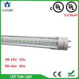 8FT는 60 와트 T8 SMD LED 관 형광 4000K 덮개 Dlc UL에 의하여 목록으로 만들어진 LED 관 T8를 지운다