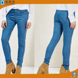 high Waist Coton Stretch女性の女性刺繍の方法細い適合の青いデニムのジーンズ