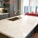 Die populären geraden flachen Ränder, die Carrara-weißen Marmor beenden, Veins QuarzCountertop