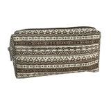 Lienzo de 12oz imprime señoras promoción bolsas de cosméticos, Maquillaje bolsas con color marrón y blanco