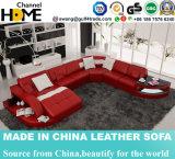Sofá novo vermelho do couro da sala de visitas do projeto da mobília Home (HC1100)