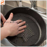 Cocina de acero inoxidable olla de hierro fundido Chainmail Scrubber