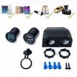 Resistente al agua 12V 24V Alquiler de 4 puertos USB 2.1A LED del cargador de Pantalla Digital voltímetro para el alquiler de carretilla barco Moto ATV