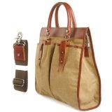 Sacchetto di acquisto della borsa della tela di canapa del cuoio di fabbricazione di Guangzhou