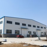 Gruppo di lavoro a timpano e magazzino della struttura d'acciaio con la gru