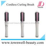 Fácil carreg conveniente branco e cor-de-rosa do ferro da escova do encrespador de cabelo do USB para o curso