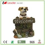Hot adorable chiot de chien de bienvenue Polyresin Statue de jardin Ornement de décoration extérieure