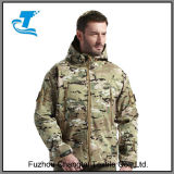 남자 옥외 물 저항하는 전술상 Softshell 두건이 있는 재킷