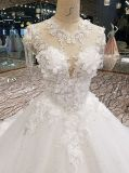Vestido de casamento cor-de-rosa de perolização barato por atacado da noite do partido do vestido de esfera