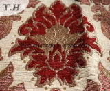 Tissu de sofa et de meubles de jacquard de Chenille de 2016 grand fleurs de rouge (FTH31617)