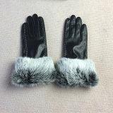 Сенсорный экран PU кожаные перчатки с эффектом велюра кролик мех