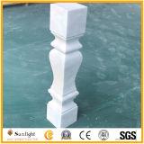 Balaustres de mármol blancos de piedra naturales con la barandilla y el Plinth