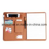 PU cuero de diseño de la carpeta de archivos de soporte del teléfono de la carpeta de tamaño A4 con el teléfono caso