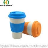 Heiße verkaufenhülse-mehrfachverwendbare Bambusfaser-Kaffeetassen des Reis-15oz mit Silikon-Kappe und Verpackung
