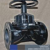 De van een flens voorzien Einden Gegoten Klep van het Diafragma van het Type van Waterkering van het Handwiel