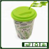 Biodegradable de fibra de bambú reutilizable taza de café 12oz 13oz con silicona