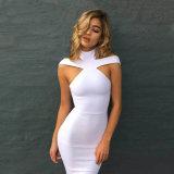 Новый способ зимы сексуальный с платья белизны платья повязки Halter платья плеча