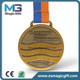 Distintivo di rame antico personalizzato della medaglia di sport con la sagola della medaglia