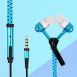 Bulit микрофона в металлическую заглушку Handsfree стерео-наушники-вкладыши молнией накладки для наушников