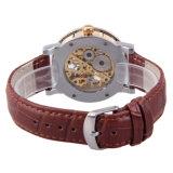 Relógio automático 10ATM do ODM do tipo feito sob encomenda do couro genuíno de classe elevada da forma impermeável
