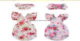 Blumen-Druck-Tasten-Rüsche-Spielanzug-Bodysuit der Babys voller mit Stirnband Esg10197