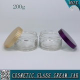Frascos de creme de vidro claro de 200ml para cuidados com a pele com tampa de alumínio colorido