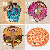 熱い販売のハンバーガーのピザによって印刷される漫画のビーチタオル浜のマット