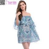 Sommer-Frauen-Rüsche weg vom Schulter-beiläufigen Kleid für Strand-Partei Ty1018