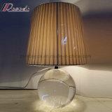 침실을%s 현대 수정같은 둥근 직물 그늘 테이블 램프