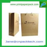 Bolsa de papel de encargo de Kraft de los bolsos de las compras de la manera de la impresión