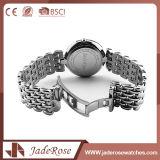 Große Vorwahlknopf-Edelstahl-Quarz-Armbanduhr mit Unisex