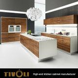 Cabinas de cocina de mezcla del acabamiento del lustre de la pintura blanca de la chapa de madera altas Tivo-0007V