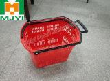 Panier à provisions en plastique commode au détail de 4 roues de supermarché