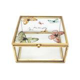Contenitore di regalo di cristallo su ordinazione dei monili di vetro di reticolo della farfalla (JB-1061-11)