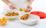 Material plástico Platinum Silicone Brochette / BBQ Container / Box para fazer aperitivos Skewer no microondas