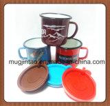 Подарка рождества OEM верхней части кружка кофеего эмали выдвиженческого популярная с крышкой и ручкой силикона