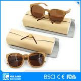 Occhiali da sole polarizzati di legno della natura di figura rotonda con il caso