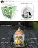 Embarcação de miniatura de madeira bricolage Dollhouse brinquedos para crianças com luz