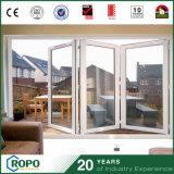 Portello di piegatura di vetro interno di effetto di uragano del PVC doppio per il patio
